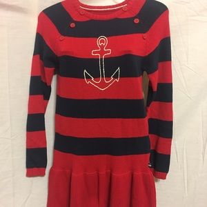 Nautical Knitted Red Sweater size 12
